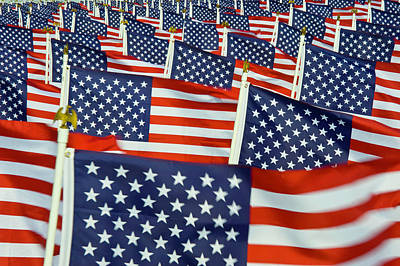 Photograph - A Field Full Of Us Flags by Donovan Reese