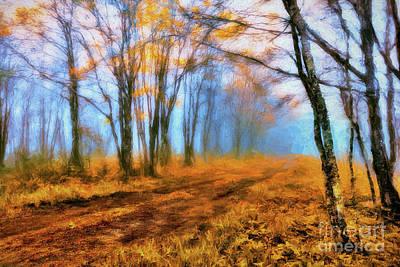 Painting - A Foggy Autumn Blue Ridge Morning Ap by Dan Carmichael