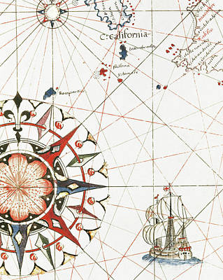 Drawing - A Galleon Sailing Off The Coast Of California Detail Of The Portulan Of Castellini, 17th Century  by Italian School