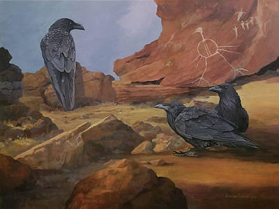 Petroglyph Painting - A Gathering Of Ancients by Katherine Cudney