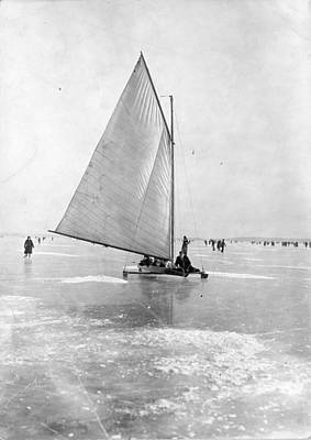 Photograph - A German Ice Yacht by General Photographic Agency