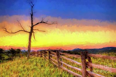 Digital Art - A Gorgeous Blue Ridge Sunrise Ap by Dan Carmichael