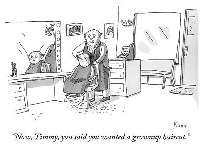 Drawing - A Grownup Haircut by Zachary Kanin
