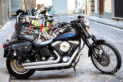 Photograph - A Harley In Florence Italy by John Rizzuto