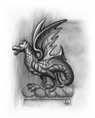 Drawing - A Highclere Wyvern by Joe Winkler