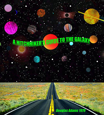 Science Fiction Mixed Media - A hitchhikers guide to the galaxy book cover art A by David Lee Thompson