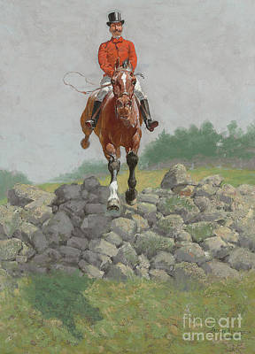 Painting - A Hunting Man, In Full Pursuit by Frederic Remington