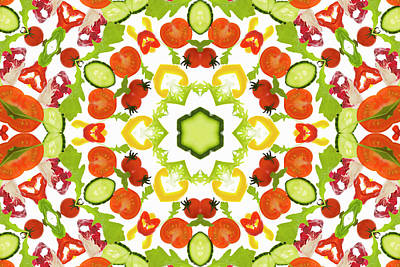 Photograph - A Kaleidoscope Image Of Salad Vegetables by Andrew Bret Wallis