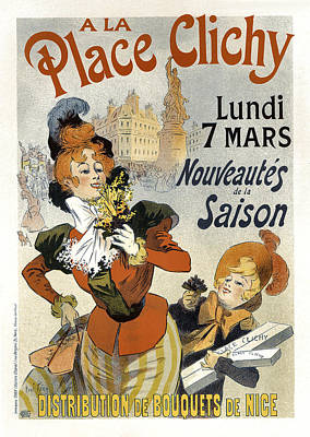 Painting - A La Place Clichy Bouquets Vintage French Advertising by Vintage French Advertising