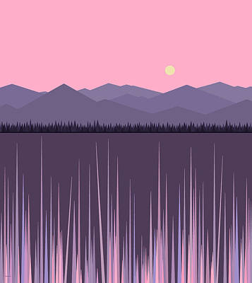 A Lake In The Mountains -  Pink Sky Art Print