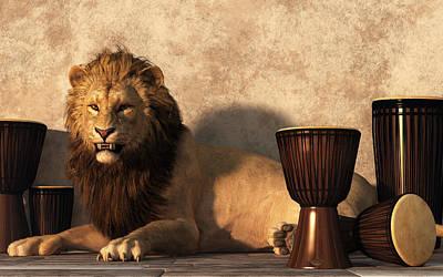 Animals Digital Art - A Lion Among Drums by Daniel Eskridge