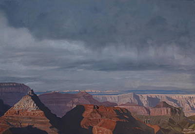 Painting - A Little Rain Over The Canyon by Barbara Barber