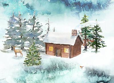 Digital Art - A Log Cabin Christmas by Ruth Moratz