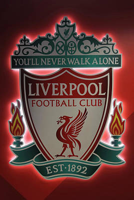 Sports Royalty-Free and Rights-Managed Images - A Logo Placard at Anfield Football Stadium, Liverpool, Merseysid by Derrick Neill