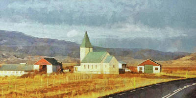 Digital Art - A Lone Church On The Open Road In The Snaefellsnes Peninsula by Digital Photographic Arts