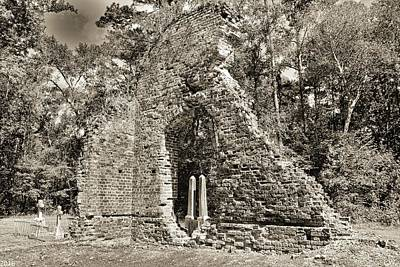Photograph - A Look Through Pon Pon Chapel Of Ease Jacksonboro South Carolina Black And White by Lisa Wooten