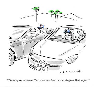 Fans Drawing - A Los Angeles Boston Fan by Trevor Spaulding