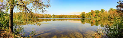 Modern Sophistication Beaches And Waves - A lovely fall panorama in Canada showing the leaves changing color by Kaleb Kroetsch