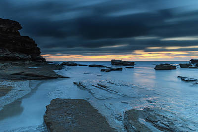 Photograph - A Luminescent Shimmering Blue Dawn Seascape by Merrillie Redden