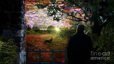 Mixed Media - A Man And His Dog by Jolanta Anna Karolska