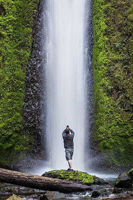 Photograph - A Man Photographing A Waterfall by Nicole Young