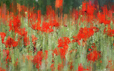 Painting - A Meadow Full Of Red Flowers - 04 by Andrea Mazzocchetti