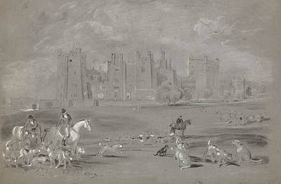 Drawing - A Meet In The Grounds Of Raby Castle by Peter De Wint