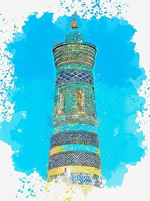 Royalty-Free and Rights-Managed Images - A Minaret  c2019, watercolor by Adam Asar by Adam Asar