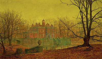 Poetic Painting - A Moated Yorkshire Home by John Atkinson Grimshaw