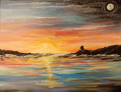 Painting - A Moment Of Freedom Ocean And The Sky by Lisa Bunsey