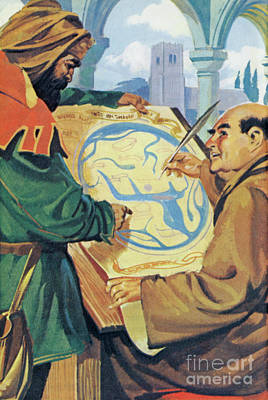 Painting - A Monk In The Middle Ages, Drawing A Map by Richard Hook
