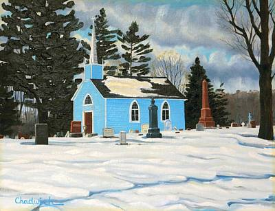 Photograph - A Moody Winter At The Blue Church by Phil Chadwick