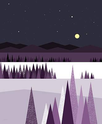 Digital Art - A Moonlit Winter Night by Val Arie