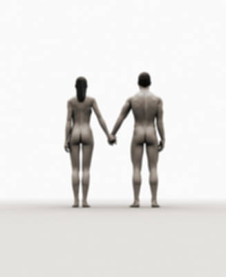 Naked Digital Art - A Naked Couple Holding Hands by Jorg Greuel