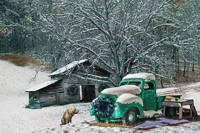 Photograph - A Nostalgic Christmas Eve In Turquoise Tones by Debra and Dave Vanderlaan