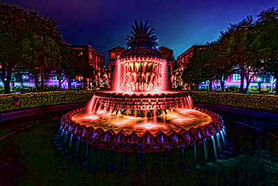 Photograph - A Painterly Vision Of Charleston's Pineapple Fountain by Sven Brogren
