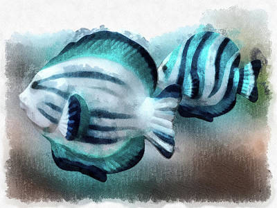 Digital Art - A Pair Of Angel Fish by Leslie Montgomery
