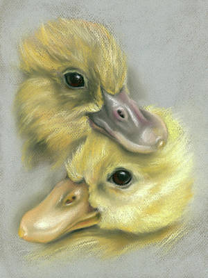 Pastel - A Pair Of Friendly Ducklings by MM Anderson