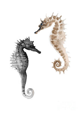 Painting - A Pair Of Grey And Brown Seahorses by Joanna Szmerdt