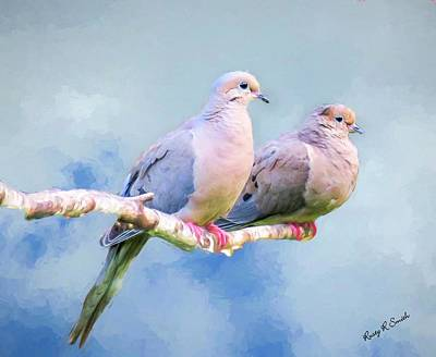 Digital Art - A Pair Of Mourning Doves Perching On A Branch. by Rusty R Smith