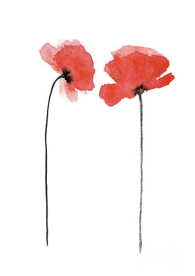 Painting - A Pair Of Poppies Facing Inwards by Joanna Szmerdt