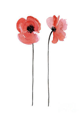 Painting - A Pair Of Red Poppies Facing Outwards by Joanna Szmerdt