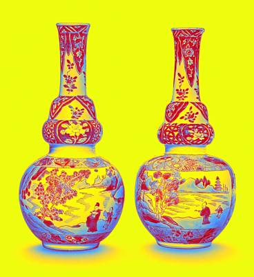 Blue Hues - A PAIR OF UNDERGLAZE-BLUE AND FAMILLE-VERTE DOUBLE-GOURD VASES QING DYNASTY, KANGXI PERIOD Neon art  by Ahmet Asar