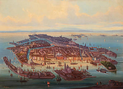 Painting - A Panoramic View Of Venice by Albert Rieger