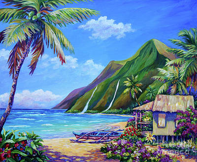 Na Pali Hawaii Painting - A Place To Play by John Clark