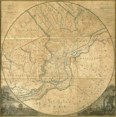 Mixed Media - A Plan Of The City Of Philadelphia And Environs, 1808-1811 by John Hills
