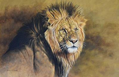 Painting - A Portrait Of A Royal - Male Lion by Alan M Hunt
