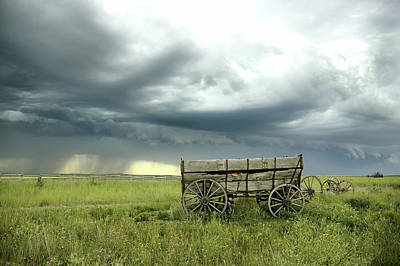 Prairie Landscape Wall Art - Photograph - A Prairie Storm Approaching Some Old by Adstock/universal Images Group