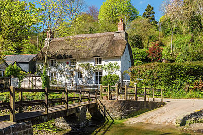 Photograph - A Pretty Thatched Cottage, Helford, Cornwall by David Ross