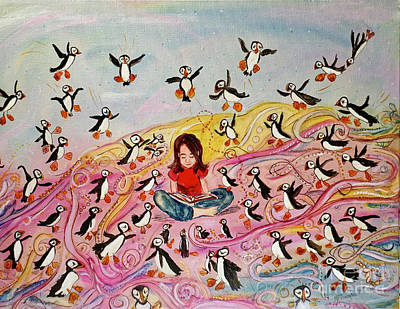 Painting Royalty Free Images - A Puffin Kind of Day  Royalty-Free Image by Patty Donoghue